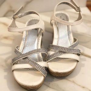White & Rhinestone Wedge Sandals.